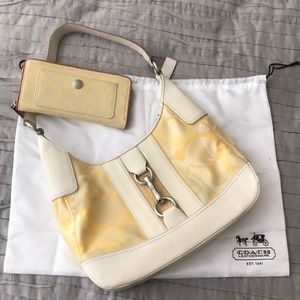 Yellow Signature C Coach Bag and Wallet Set